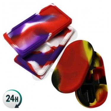 Silicone Cases - 6 sections - Black, yellow and red - Open