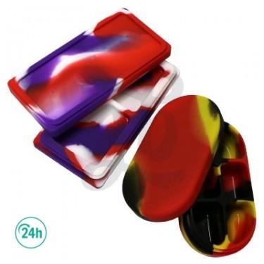 Étuis en silicone 6 compartiments - Noir, rouge et jaune ouvert