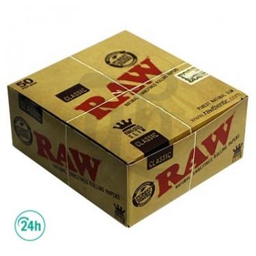Caja de 50 librillos papel Raw King Size