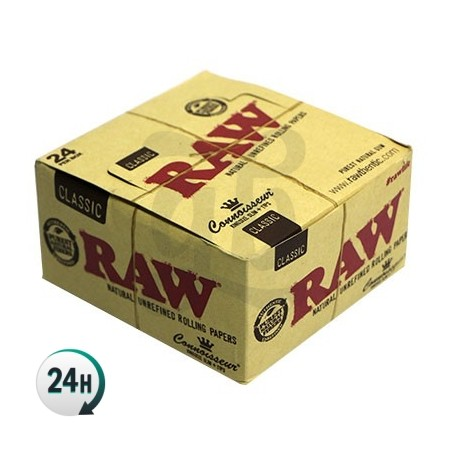 Caja 24 librillos papel Raw King Size CONNOSIEUR