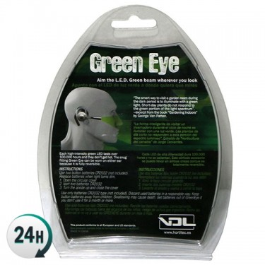 Hands Free Green Eye LED light - Back of packaging and instructions