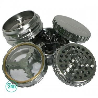 Grinder Doble Aluminio Giza 62mm 5 partes - Plateado