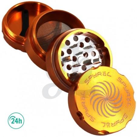 Grinder Spyral 40mm 4 partes desmenuzante de hierbas - color naranja, abierto