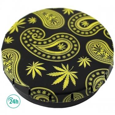 Caja metálica Click - Hojas de marihuana doradas, fondo negro