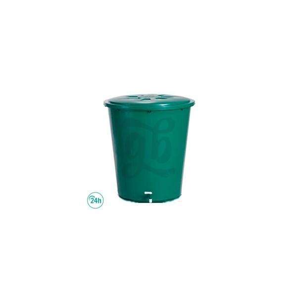 Depósito de agua para riego redondo verde con tapa