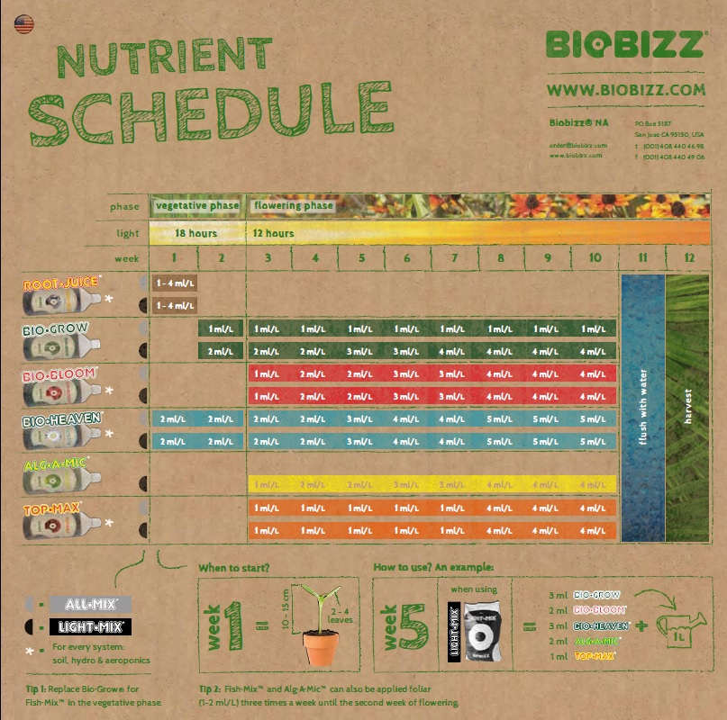 how to use the biobizz feeding chart