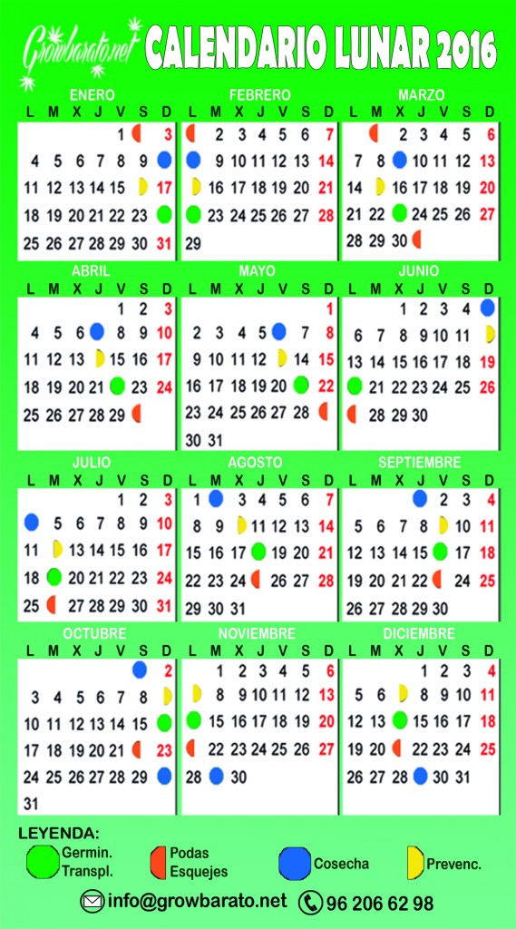 El calendario lunar for Calendario de luna creciente 2016